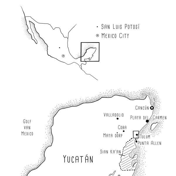Drawn Map of Yucatán, México