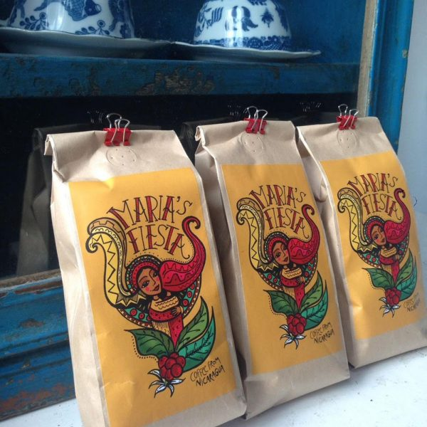 Maria's Fiesta coffee label