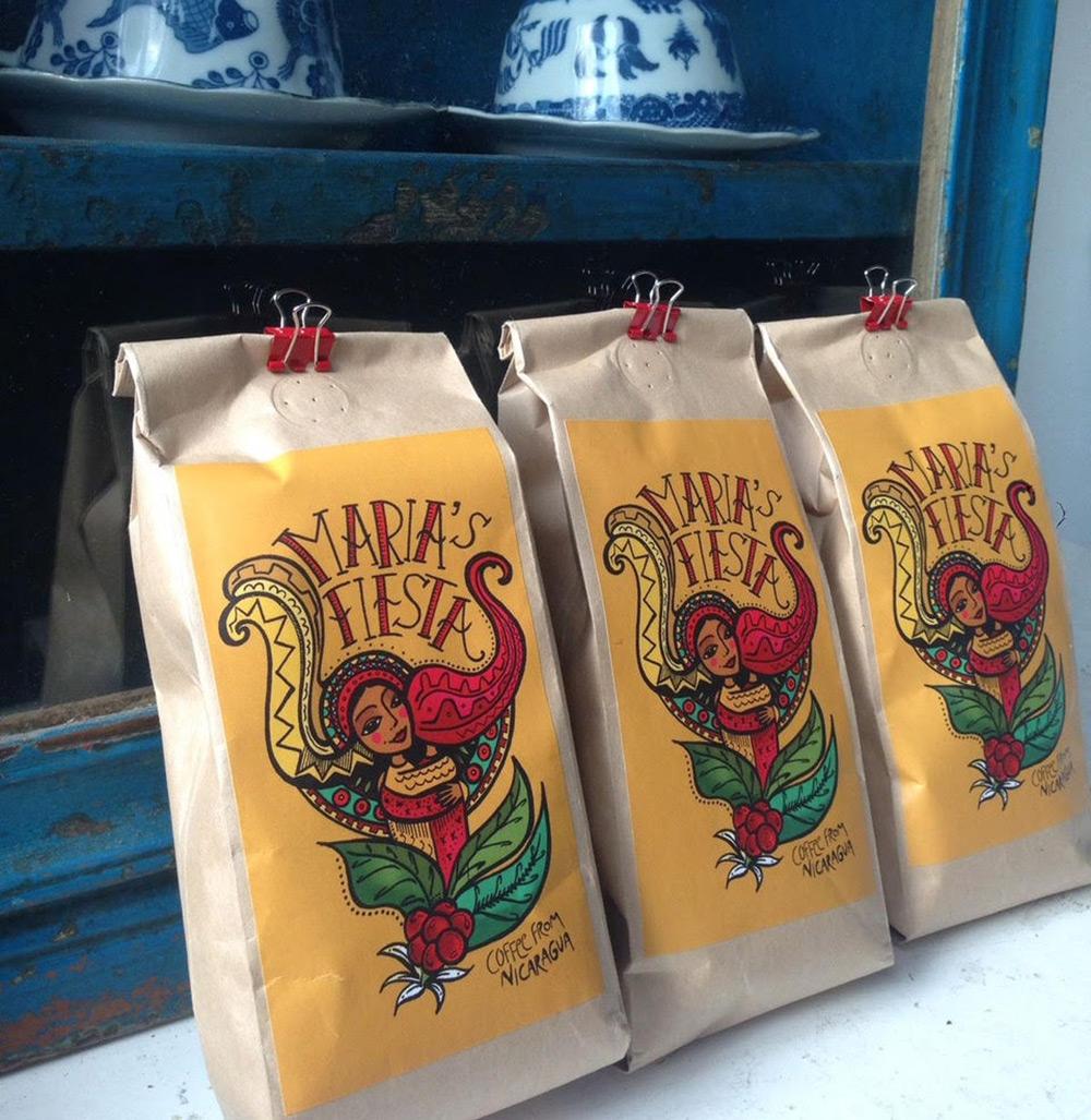 Maria's Fiesta coffee label